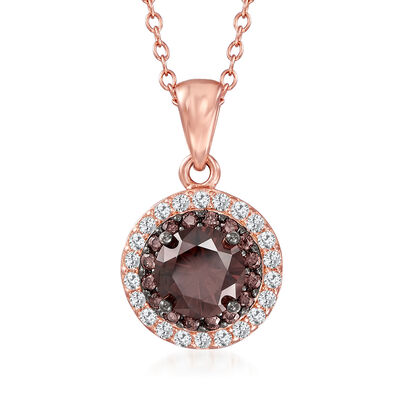 1.00 ct. t.w. Brown and White CZ Pendant Necklace in 18kt Rose Gold Over Sterling