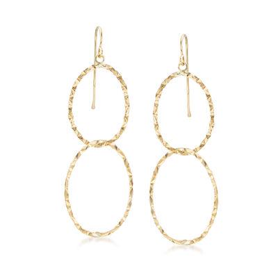 14kt Yellow Gold Double Interlocking Oval Drop Earrings, , default
