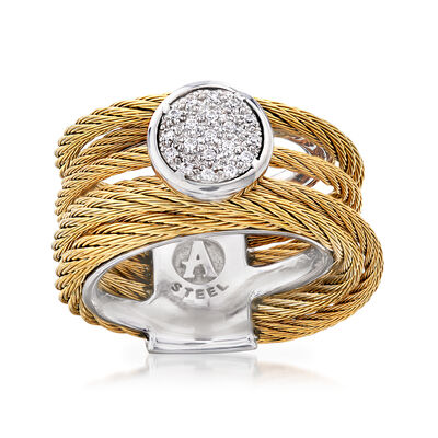 "ALOR ""Classique"" .10 ct. t.w. Diamond Yellow Stainless Steel Cable Ring with 18kt White Gold, , default"