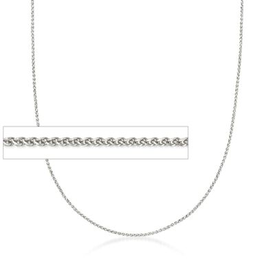 1mm 14kt White Gold Wheat Chain Necklace, , default