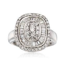 C. 1990 Vintage 1.20 ct. t.w. Diamond Cluster Ring in 14kt White Gold. Size 5.5, , default