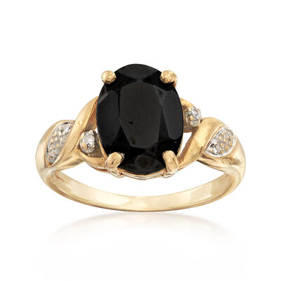 C. 1990 Vintage 2.35 Carat Black Diopside Ring With Diamond Accents in 10kt Yellow Gold, , default