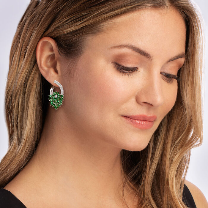 5.00 ct. t.w. Tsavorite and .67 ct. t.w. Diamond Floral Drop Earrings in 14kt White Gold