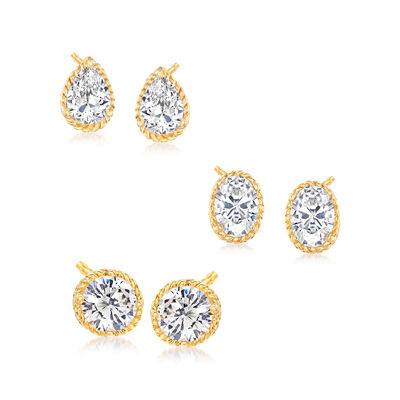 4.60 ct. t.w. CZ Jewelry Set: Three Pairs of Stud Earrings in 18kt Gold Over Sterling, , default