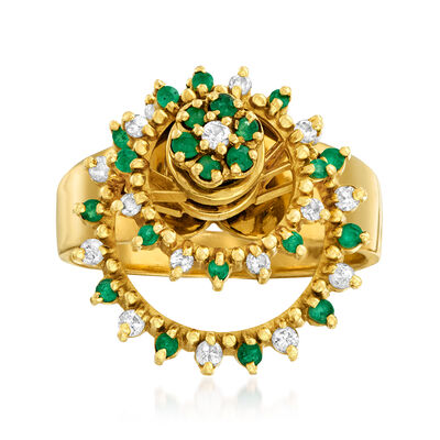 C. 1970 Vintage .40 ct. t.w. Emerald and .35 ct. t.w. Diamond Spin Ring in 18kt Yellow Gold, , default