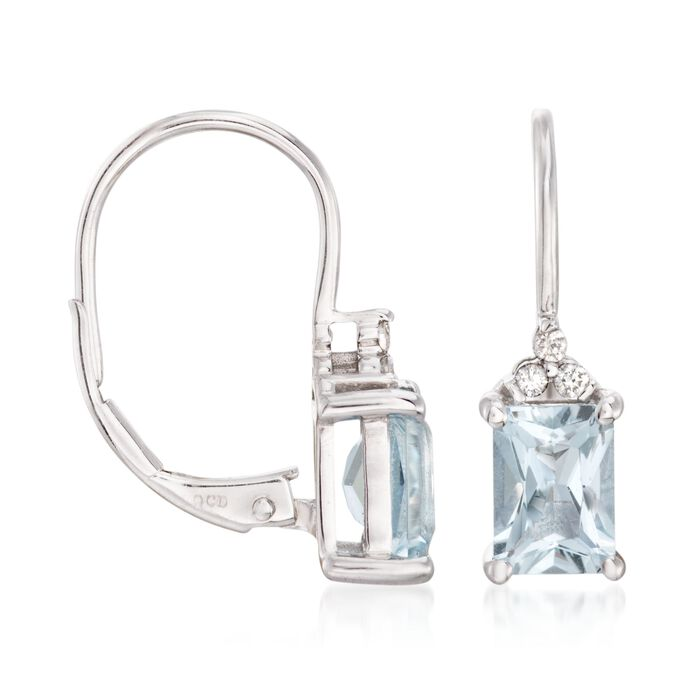 1.50 ct. t.w. Aquamarine Drop Earrings with Diamond Accents in 14kt White Gold