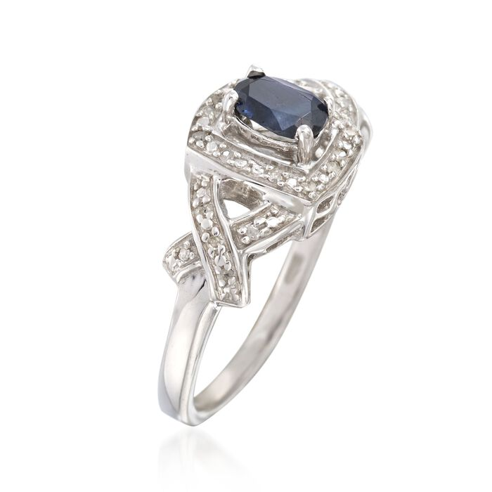 .60 Carat Sapphire Ring with Diamond Accents in Sterling Silver