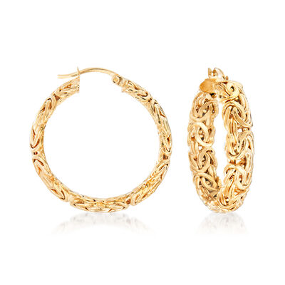 18kt Yellow Gold Over Sterling Silver Medium Byzantine Hoop Earrings, , default