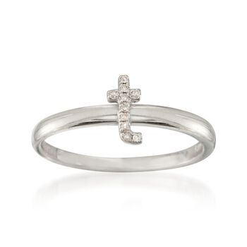 """Diamond Accent Mini Initial """"T"""" Ring in Sterling Silver, , default"""