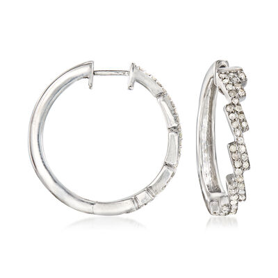 .50 ct. t.w. Diamond Diagonal Hoop Earrings in Sterling Silver