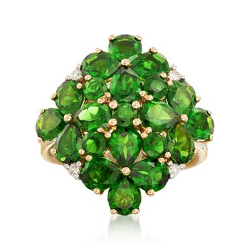 5.60 ct. t.w. Green Diopside Cluster Ring in 14kt Yellow Gold, , default