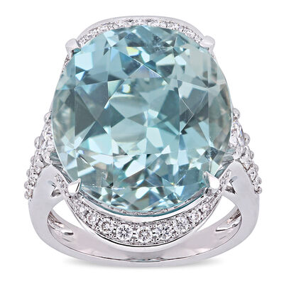 23.38 Carat Sky Blue Topaz and .25 ct. t.w. Diamond Cocktail Ring in 14kt White Gold