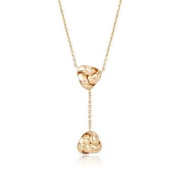 """Italian 14kt Yellow Gold Double Love Knot Y-Necklace. 17"""", , default"""