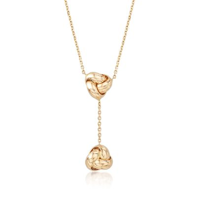 Italian 14kt Yellow Gold Double Love Knot Y-Necklace, , default