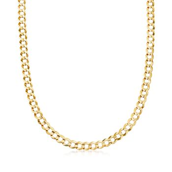 "Men's 7mm 14kt Yellow Gold Faceted Curb-Link Chain Necklace. 20"", , default"