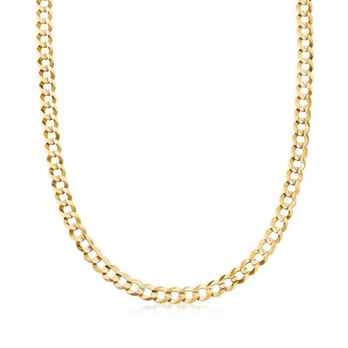 """Men's 7mm 14kt Yellow Gold Faceted Curb-Link Chain Necklace. 20"""", , default"""