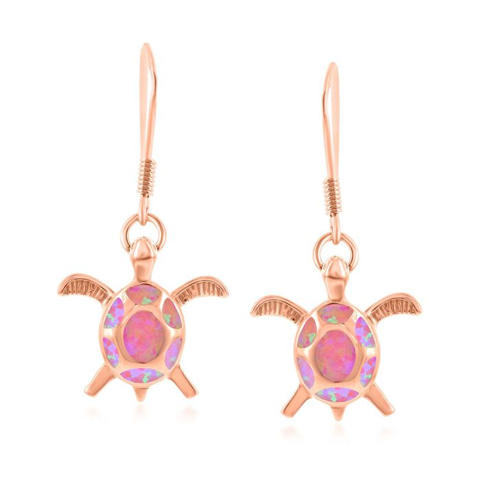 Pink Synthetic Opal Sea Turtle Drop Earrings in 18kt Rose Gold Over Sterling, , default