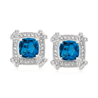 2.50 ct. t.w. London Blue and White Topaz Earrings in Sterling Silver