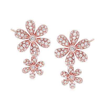 .56 ct. t.w. Diamond Double-Flower Earrings in 18kt Rose Gold, , default