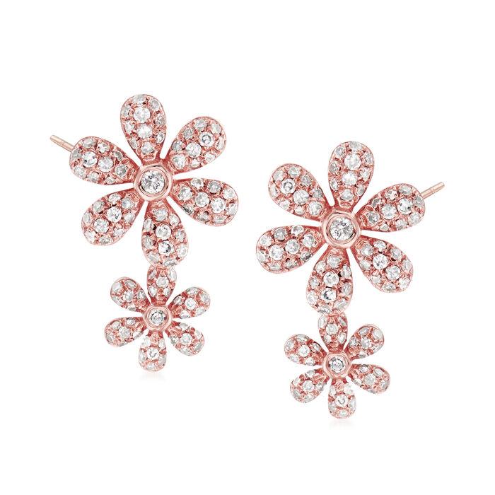 .56 ct. t.w. Diamond Double-Flower Earrings in 18kt Rose Gold
