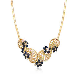 C. 1980 Vintage 10.50 ct. t.w. Sapphire and 1.85 ct. t.w. Diamond Floral Swirl Necklace in 18kt Yellow Gold, , default