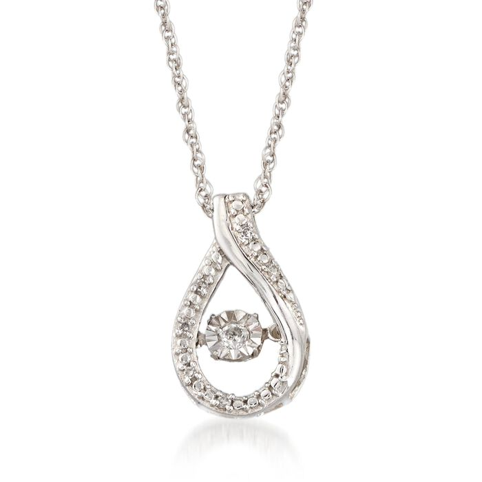 Diamond Accent Floating Teardrop Pendant Necklace in Sterling Silver