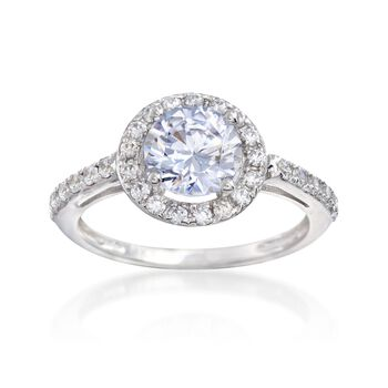 1.80 ct. t.w. CZ Halo Ring in 14kt White Gold, , default