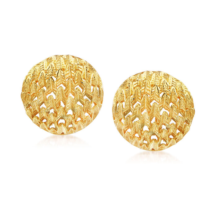 C. 1980 Vintage 10kt Yellow Gold Round Textured Earrings