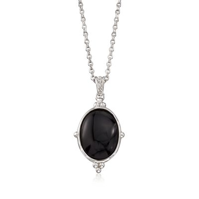 Oval Black Onyx Pendant Necklace in Sterling Silver, , default