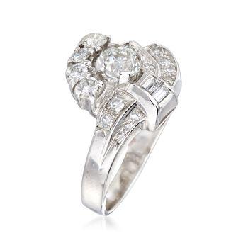 C. 1950 Vintage 1.06 ct. t.w. Multi-Cut Diamond Cluster Ring in Platinum. Size 5.5, , default