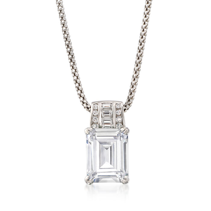 """5.75 ct. t.w. CZ Pendant Necklace in Sterling Silver. 18"""", , default"""
