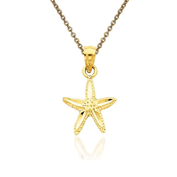 "14kt Yellow Gold Starfish Pendant Necklace. 18"", , default"
