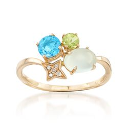 .60 ct. t.w. Blue Topaz and Peridot  Ring With Chalcedony and a Diamond Accent in 14kt Yellow Gold, , default