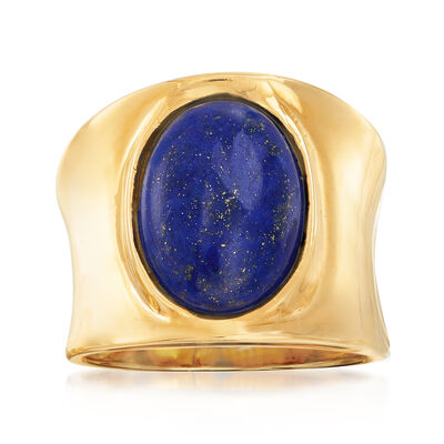 Italian Lapis Ring in 18kt Gold Over Sterling, , default