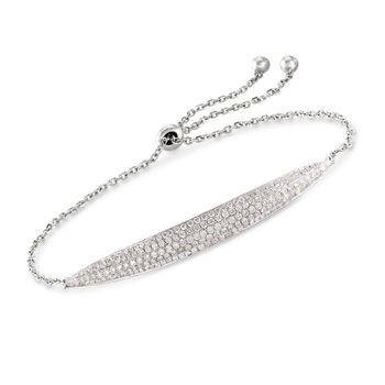 1.00 ct. t.w. Pave Diamond Curved Bar Bolo Bracelet in 18kt White Gold, , default