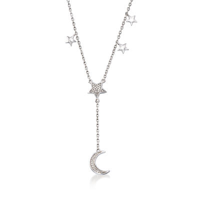 .15 ct. t.w. Diamond Moon and Star Lariat Necklace in Sterling Silver, , default