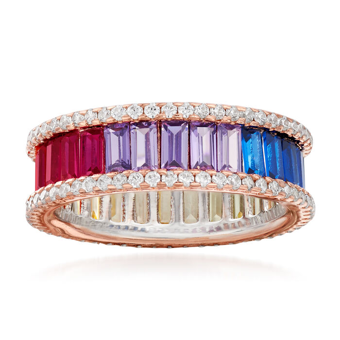 Simulated Sapphire and .80 ct. t.w. CZ Rainbow Ring in 18kt Rose Gold Over Sterling, , default