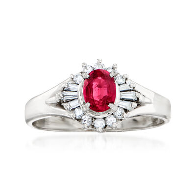 C. 1980 Vintage .55 Carat Ruby and .23 ct. t.w. Diamond Ring in Platinum