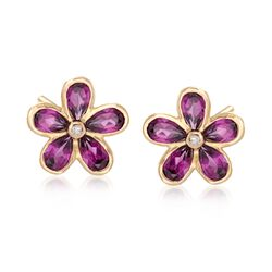 2.40 ct. t.w. Rhodolite Garnet Flower Earrings in 18kt Yellow Gold, , default