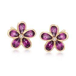 2.40 ct. t.w. Rhodolite Garnet Flower Earrings in 18kt Yellow Gold, , default