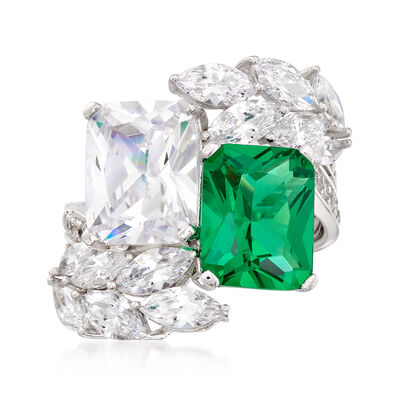 Simulated Emerald and 6.60 ct. t.w. CZ Ring in Sterling Silver, , default