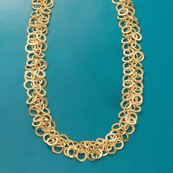 """14kt Yellow Gold Multi-Circle Link Necklace. 18"""", , default"""