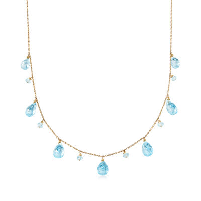27.40 ct. t.w. Sky Blue Topaz Necklace in 14kt Yellow Gold