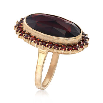 C. 1930 Vintage Burgundy Glass Ring in 8kt Yellow Gold. Size 6.25, , default