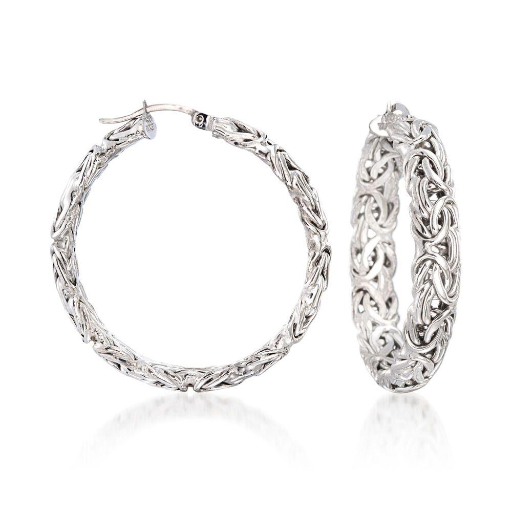 Sterling Silver Large Byzantine Hoop Earrings 1 2 Default