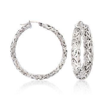 """Sterling Silver Large Byzantine Hoop Earrings. 1 1/2"""", , default"""