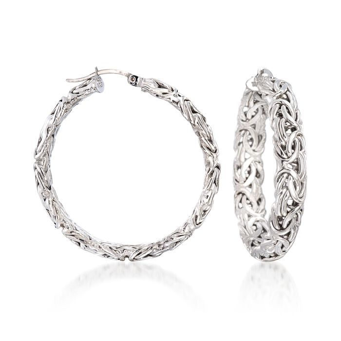 "Sterling Silver Large Byzantine Hoop Earrings. 1 1/2"", , default"