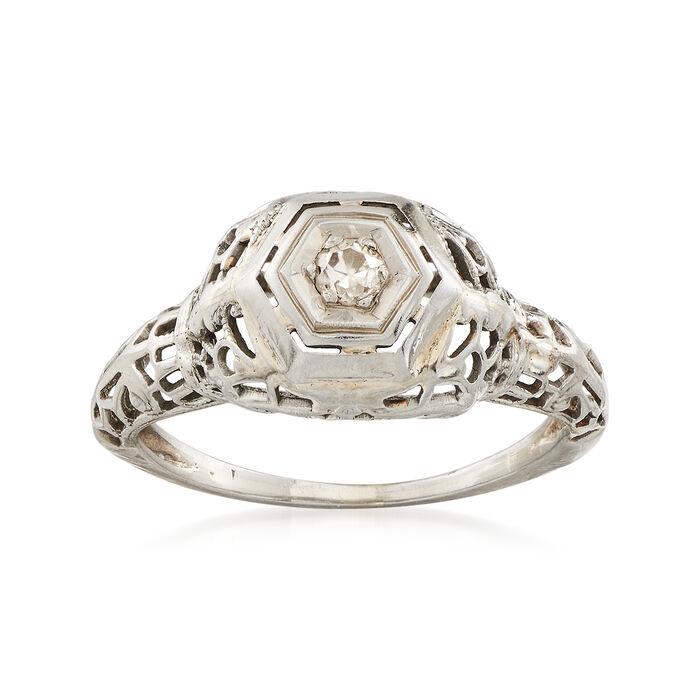 C. 1940 Old European Cut .06 Carat Diamond Ring in 14kt White Gold. Size 4.75