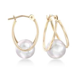 "8-8.5mm Gray Cultured Pearl Double Hoop Earrings in 14kt Yellow Gold. 5/8"", , default"