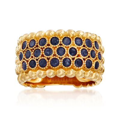 1.00 ct. t.w. Sapphire Beaded Multi-Row Ring in 18kt Gold Over Sterling, , default